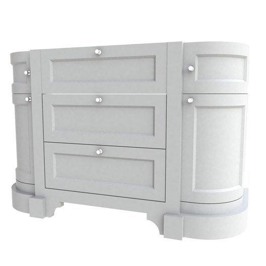 Meuble sous vasque x x cm blanc for Meuble vasque arrondi