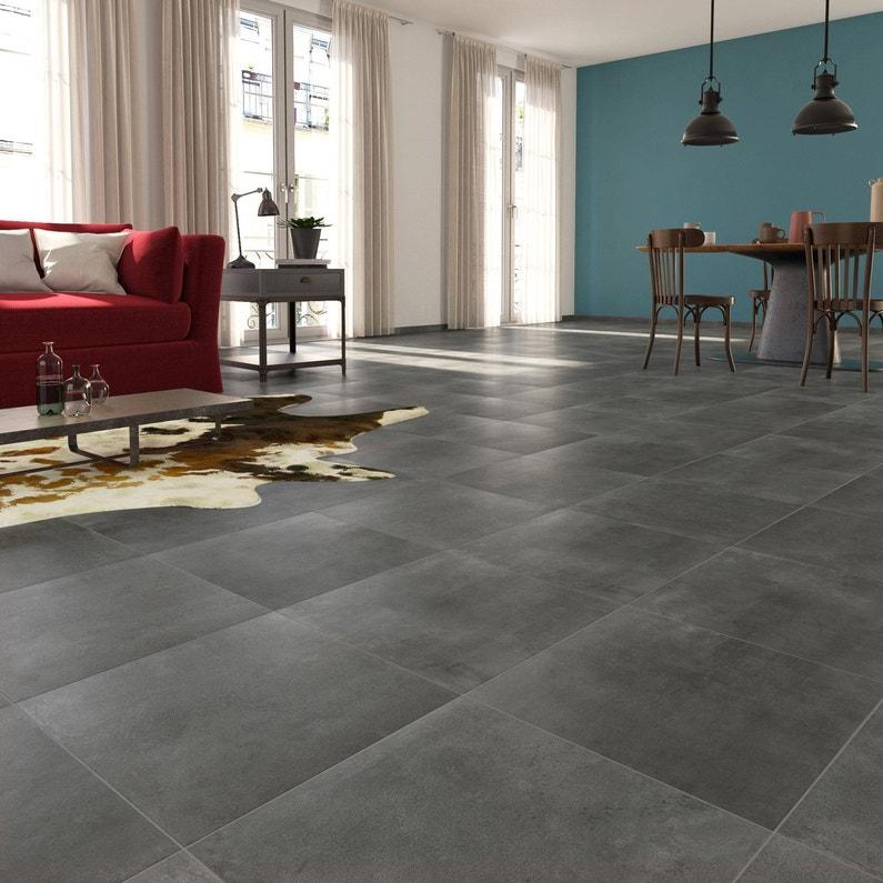 carrelage sol et mur forte béton gris foncé laiton l.45 x l.45 cm