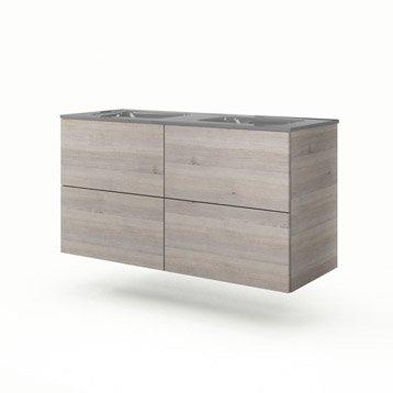 Meuble vasque l.120 x H.64 x P.48 cm, imitation chêne grisé Neo line
