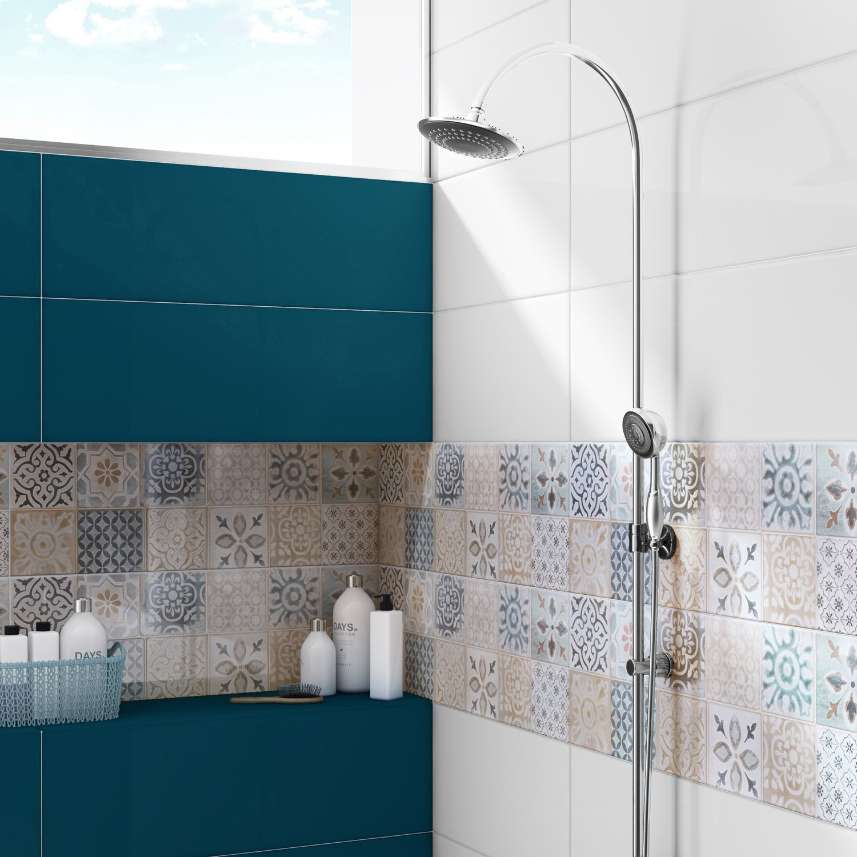Carrelage Salle De Bain Bleu Turquoise mix de carrelage pour effet graphique réussi ! | leroy merlin