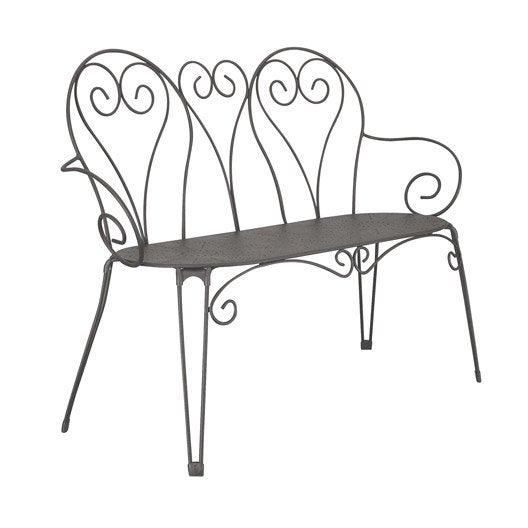 banc 3 places de jardin en acier romantique gris graphite leroy merlin. Black Bedroom Furniture Sets. Home Design Ideas