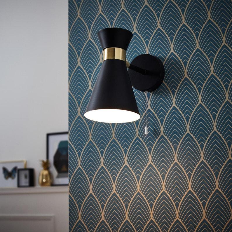 Applique Design E14 Goldy Metal Noir 1 Brilliant Leroy Merlin