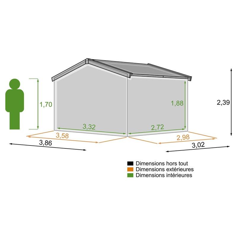 Abri de jardin bois NATERIAL Kerno évolution Ep.28 mm, 9.05 m²