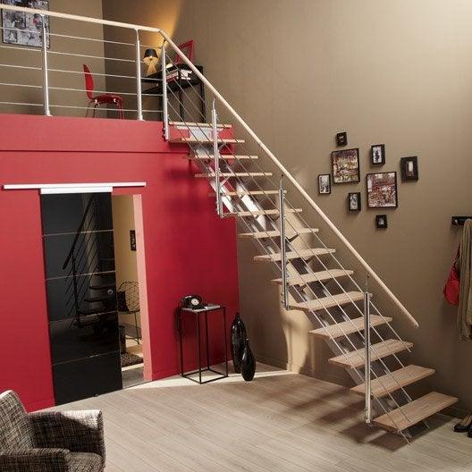 Escalier quart tournant escatwin structure aluminium marche bois leroy merlin - Hauteur d une rampe d escalier ...