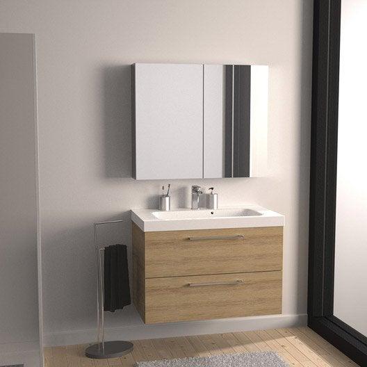 meuble de salle de bains de 80 99 marron remix leroy merlin. Black Bedroom Furniture Sets. Home Design Ideas