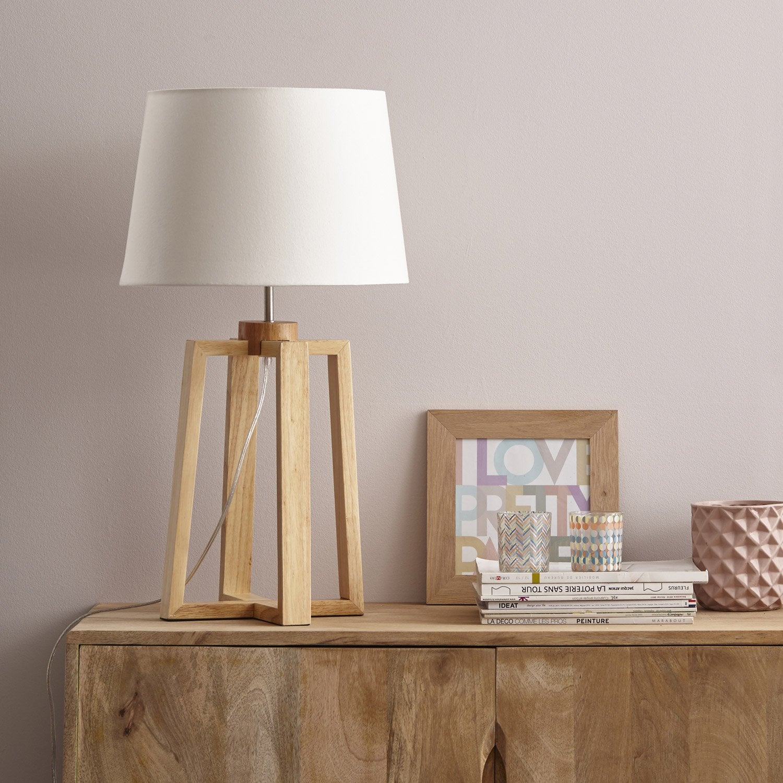 Pied de lampe Sachi, bois naturel, 47 cm, INSPIRE