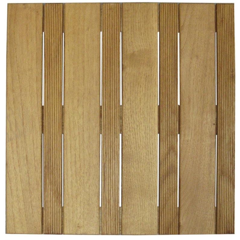 Dalle bois Robinier natérial, L.100 x l.100 cm x Ep.32 mm