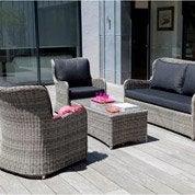 Salon bas de jardin Denver résine tressée gris chiné 1 table + 1 canapé + 2 faut