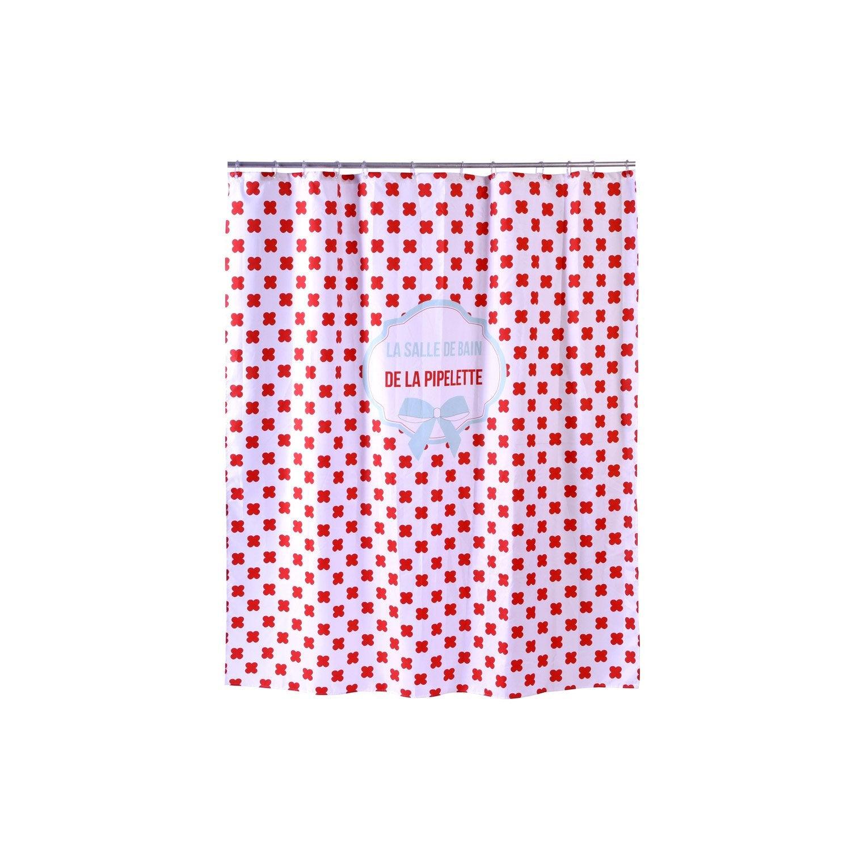 Rideau de douche en textile rouge l.180 x H.200 cm, Dodo&cath ...