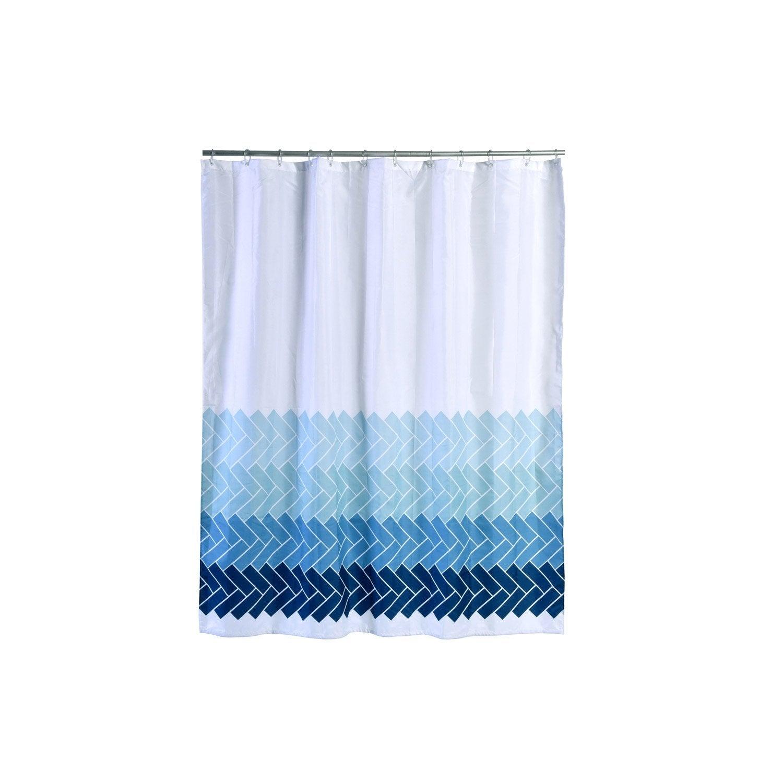 Rideau de douche en textile bleu l.180 x H.200 cm, Zigzag SENSEA