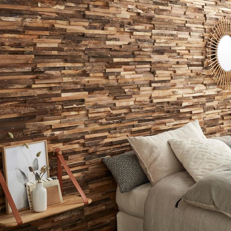 Plaquette De Parement Bois Recycle Skinwood Bois Marron Interieur