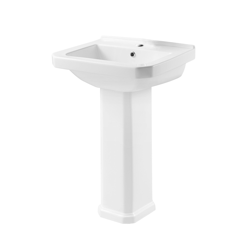 Lavabo colonne en céramique, blanc, SENSEA Charm