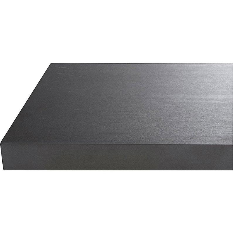 Plan De Travail Stratifié Effet Métal Noir Mat L 315 X P 65 Cm Ep 38 Mm