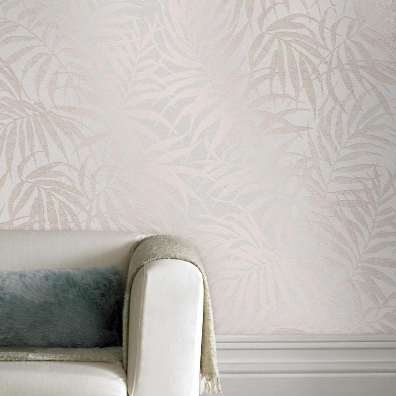 Papier Peint Vinyle Tropical Feuillage Taupe Rosé