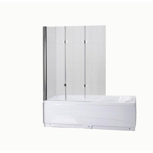 pare baignoire 3 volets quadro verre s curit 5 mm transparent leroy merlin. Black Bedroom Furniture Sets. Home Design Ideas