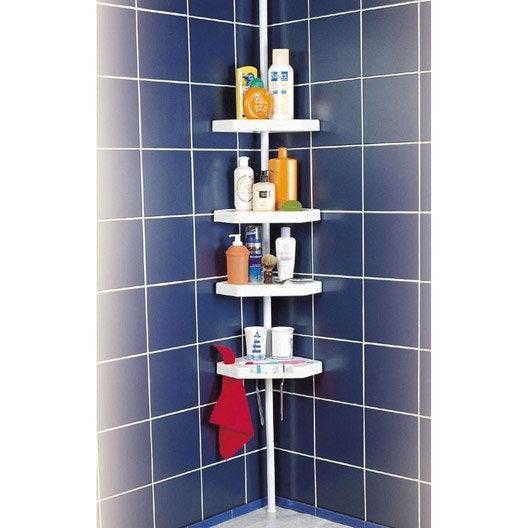 etagère de bain / douche d'angle à poser, blanc, ottawa | leroy merlin