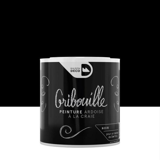 Peinture tableau craie noir mat MAISON DECO Gribouille 0.5 l | Leroy ...