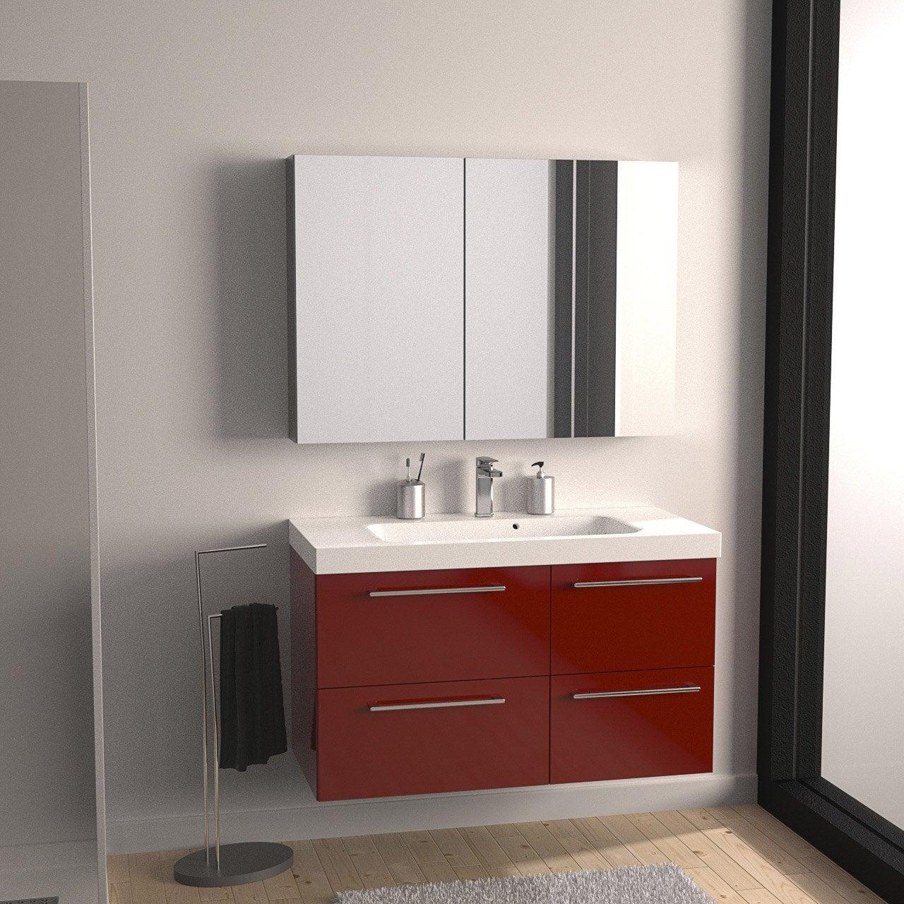 Meuble de salle de bains de 100 119 rouge remix leroy merlin - Meuble salle de bain remix ...