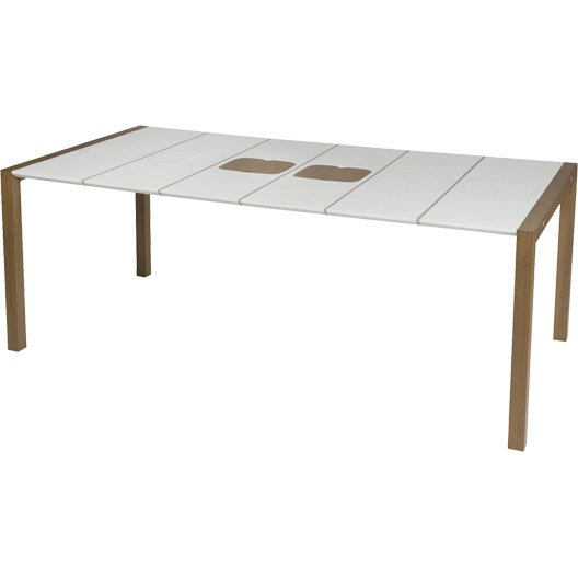 table de jardin grosfillex sunday rectangulaire blanc. Black Bedroom Furniture Sets. Home Design Ideas