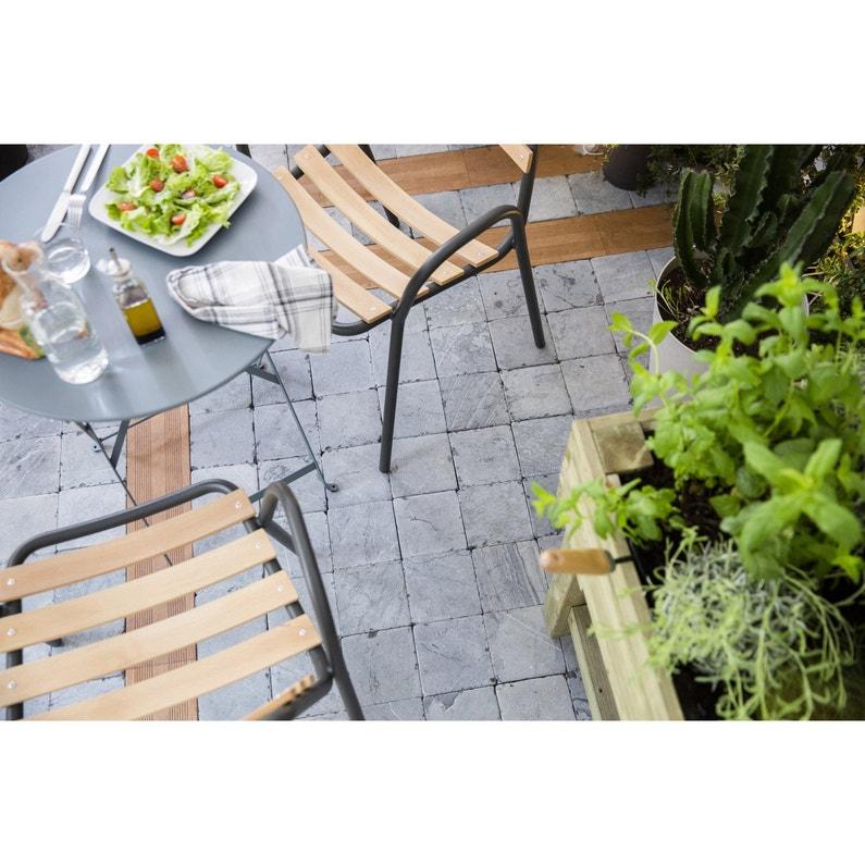 Table de jardin de repas FERMOB Bistro ronde gris orage 2 personnes ...