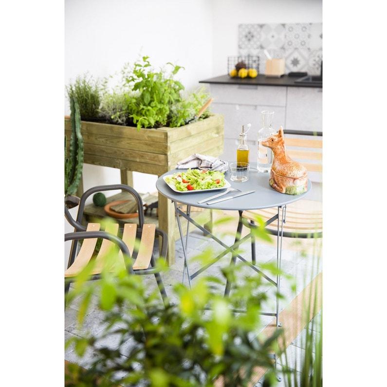 Table de jardin FERMOB Bistro ronde gris orage 2 personnes | Leroy ...