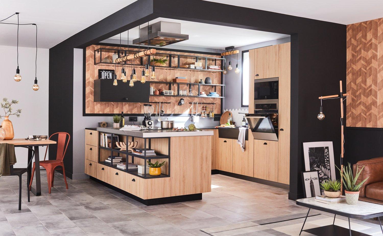 Cuisine ilot noire et bois le style industriel dans la maison leroy merlin - Ilot central cuisine bois ...