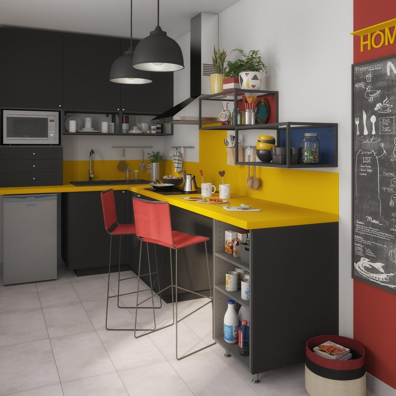 Plan Travail Cuisine Noir le plan de travail donne le ton à la cuisine | leroy merlin