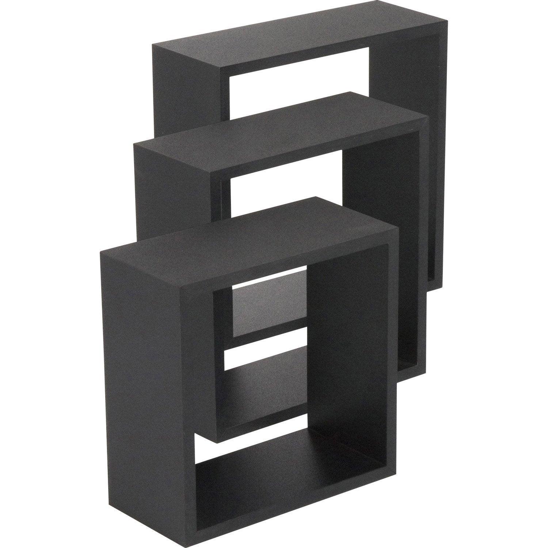 etag re 3 cubes noir x cm mm leroy merlin. Black Bedroom Furniture Sets. Home Design Ideas