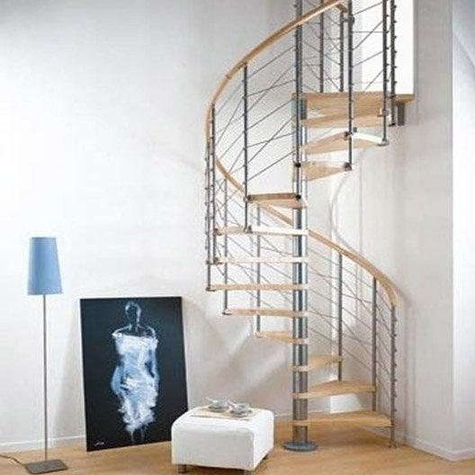 Escalier colima on rond ring structure m tal marche bois leroy merlin - Largeur escalier colimacon ...