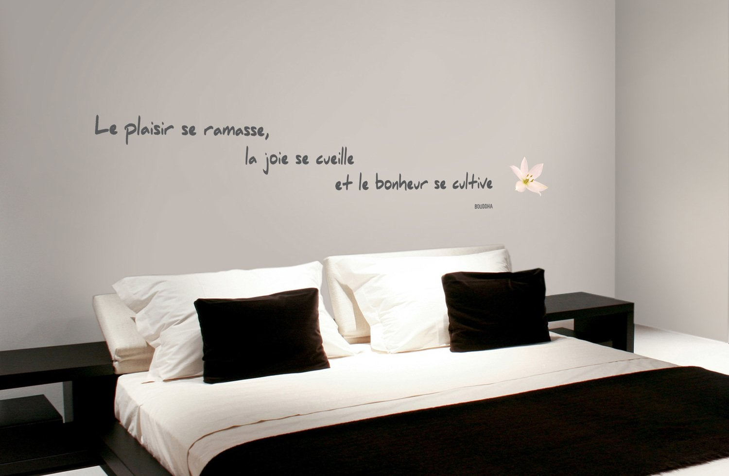 stickers citation du bonheur sur les murs leroy merlin. Black Bedroom Furniture Sets. Home Design Ideas