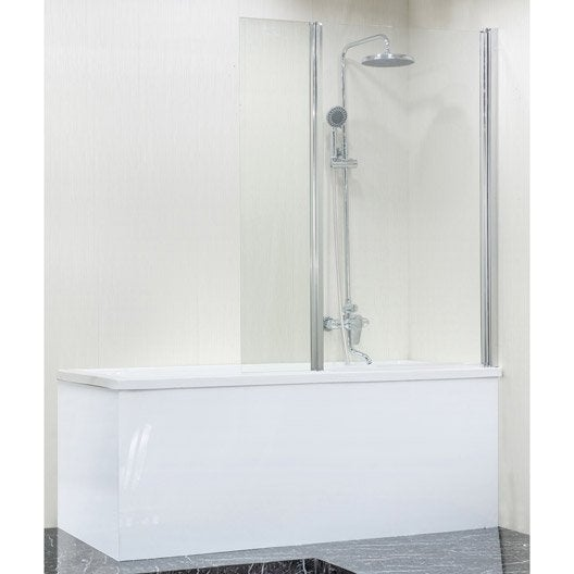 Pare-baignoire 2 volets pliant H.140 cmxl.115 cm verre sécurité transparent Dado
