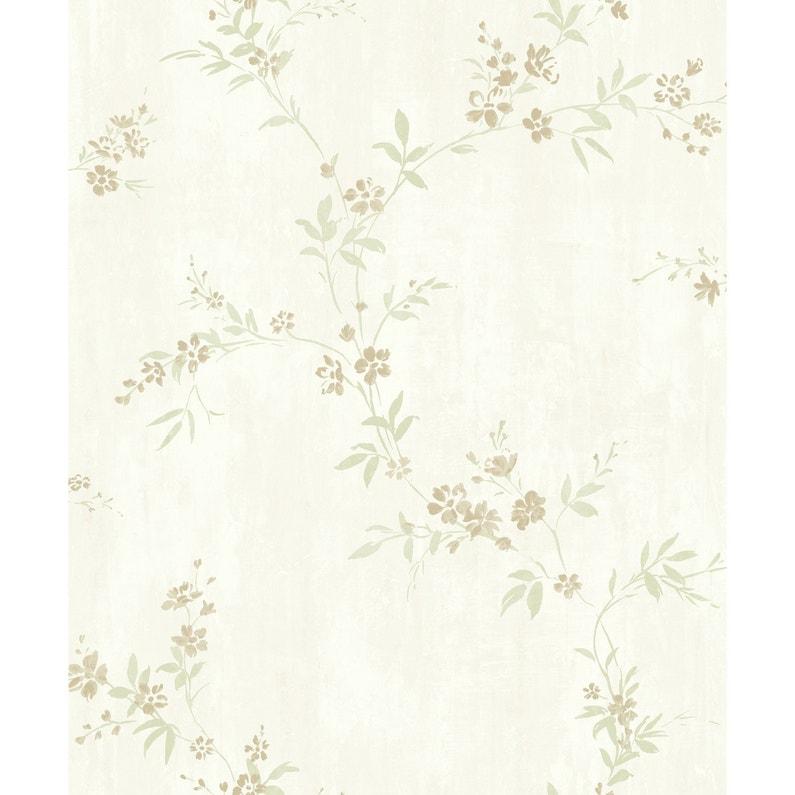 Papier Peint Flora Blanc Or Vert Intisse Legend Leroy Merlin