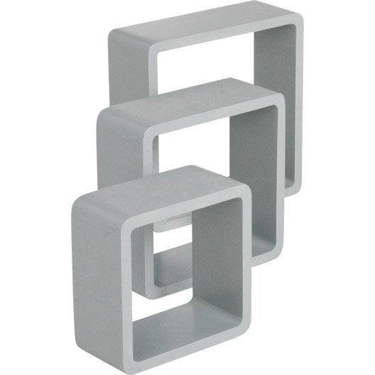 Etagère 3 cubes gris galet n°4 SPACEO, L.28 x P.28 cm Ep.15 mm ...