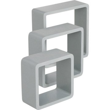 Etagère 3 cubes gris galet n°4 SPACEO, L.28 x P.28 cm Ep.15 mm