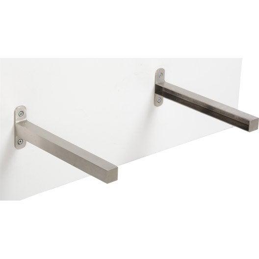 equerre d'extrémité aluminium inox, l.23.5 x l.2 cm   leroy merlin