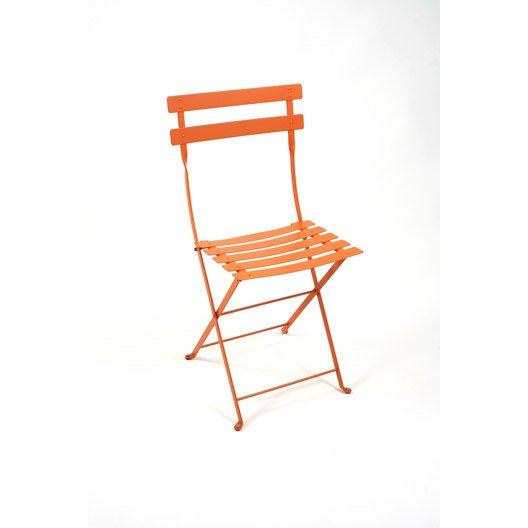 Chaise de jardin en acier bistro couleur carotte fermob leroy merlin - Chaise de jardin fermob ...