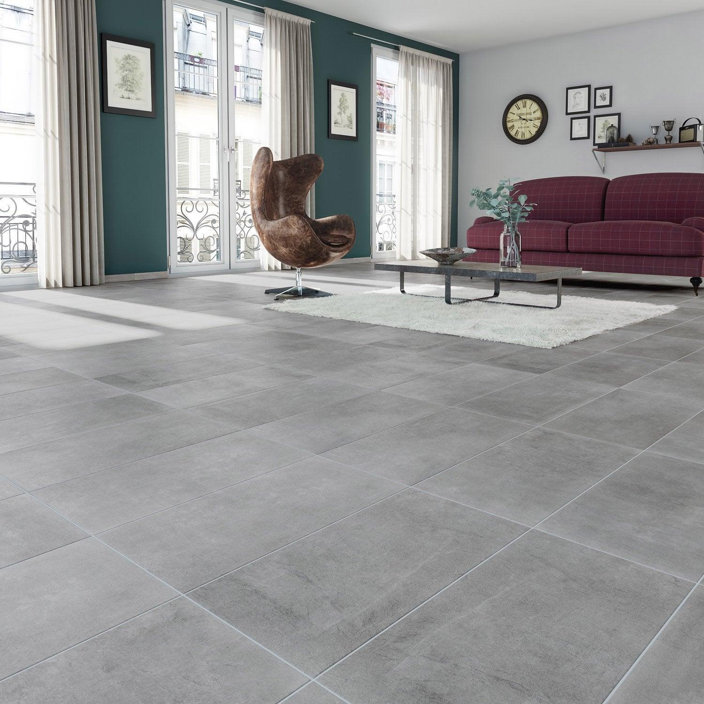 Carrelage sol et mur forte effet béton gris New cottage l.30 x L.60.4 cm