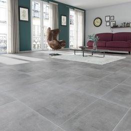 Carrelage sol et mur gris effet béton New cottage l.30 x L.60.4 cm