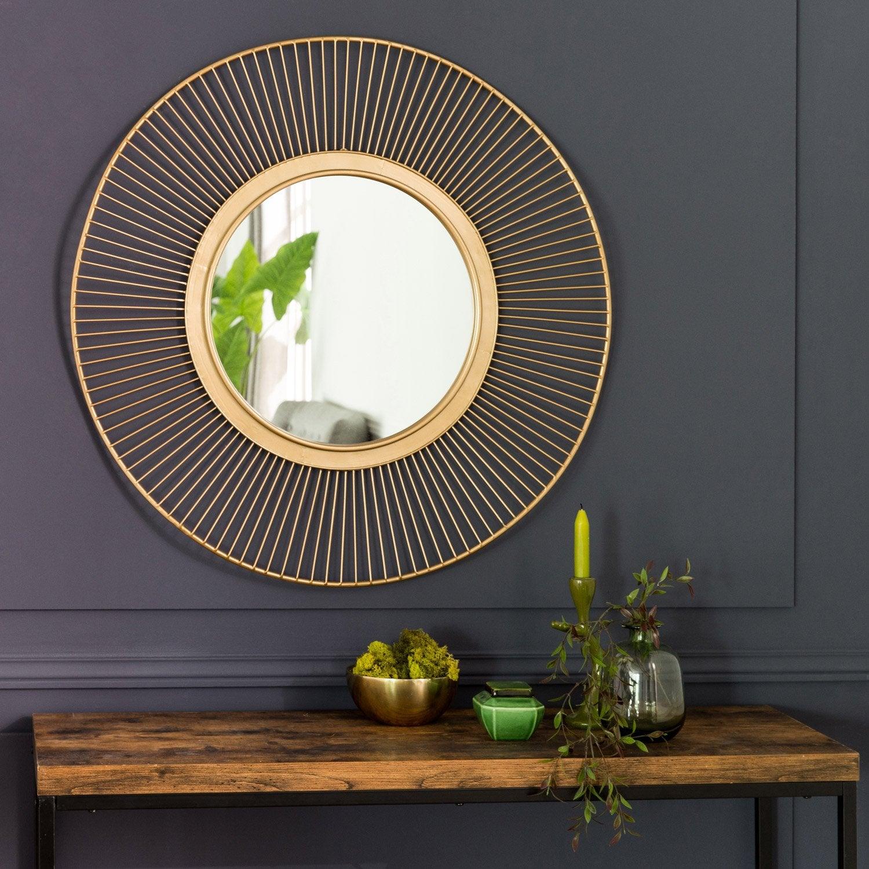 Miroir rond Ondulation métal, dorée, l.39 x H.39 cm