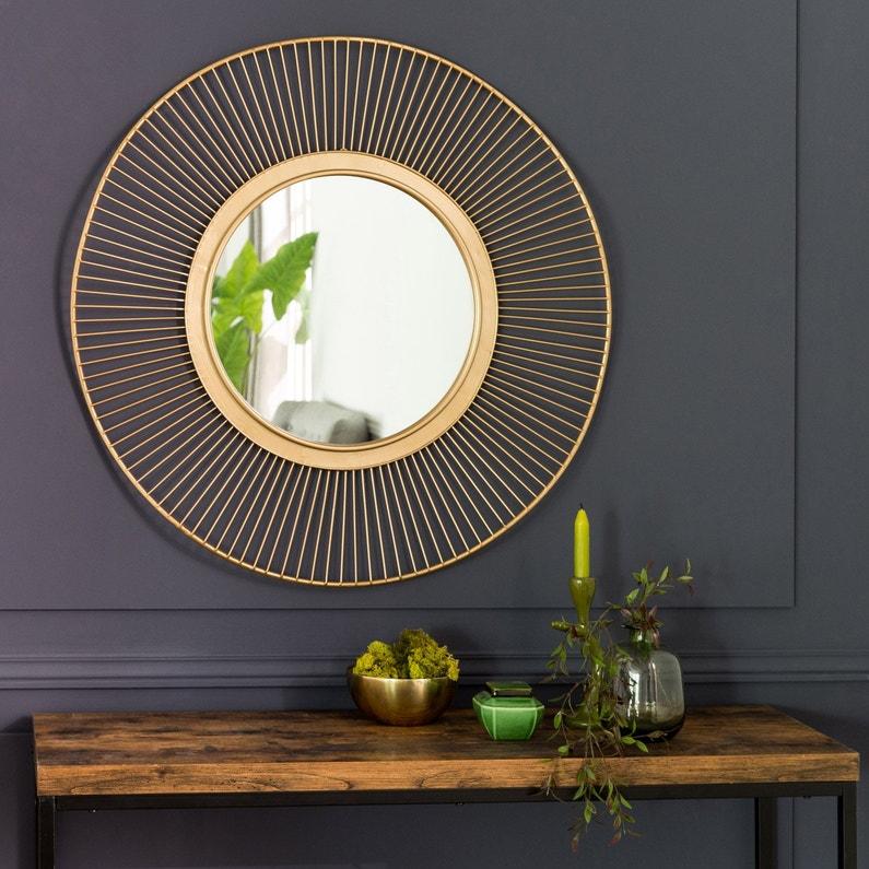Miroir rond Ondulation métal, dorée, l.39 x H.39 cm | Leroy Merlin