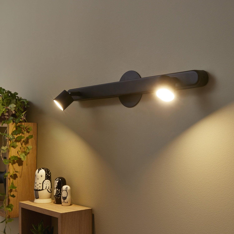 Rampe 2 spots moderne Flut, 2 xled intégrée noir INSPIRE