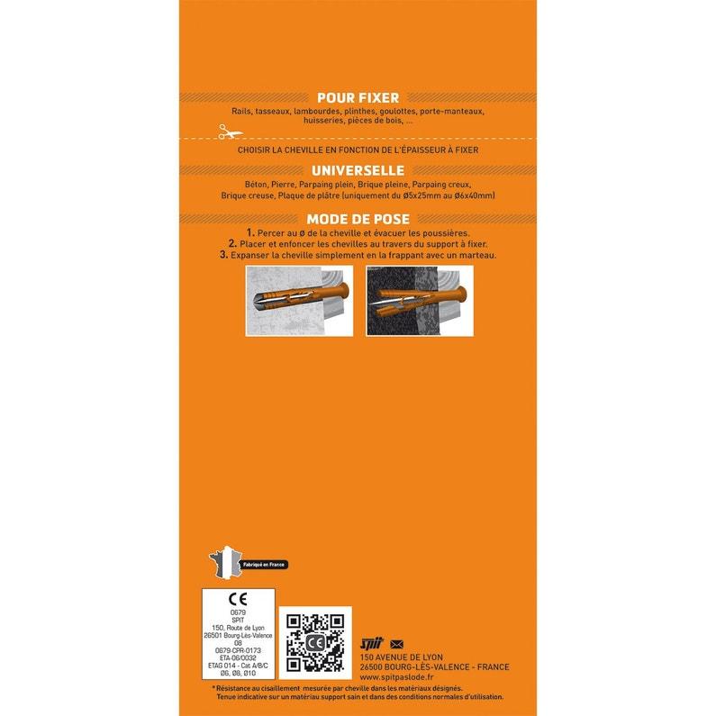 profiter de gros rabais nouveaux prix plus bas plus grand choix de Lot de 40 chevilles à frapper nylon SPIT, Diam.5 x L.25 mm