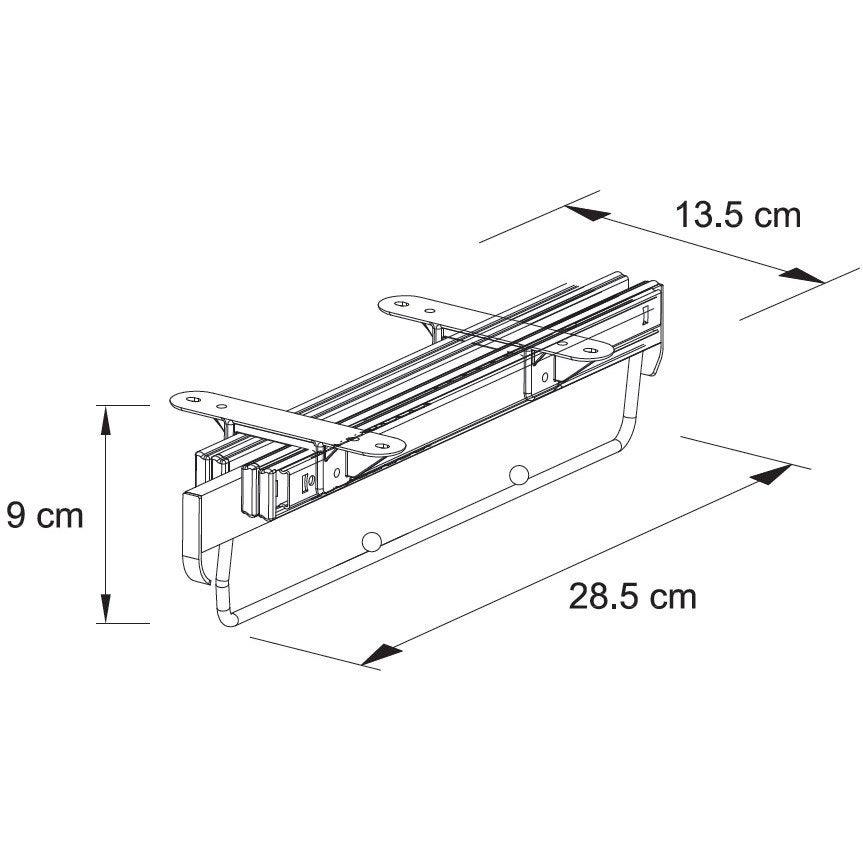 Porte cintres sous tablette coulissant gris H.10 x l.43 x P.5 cm