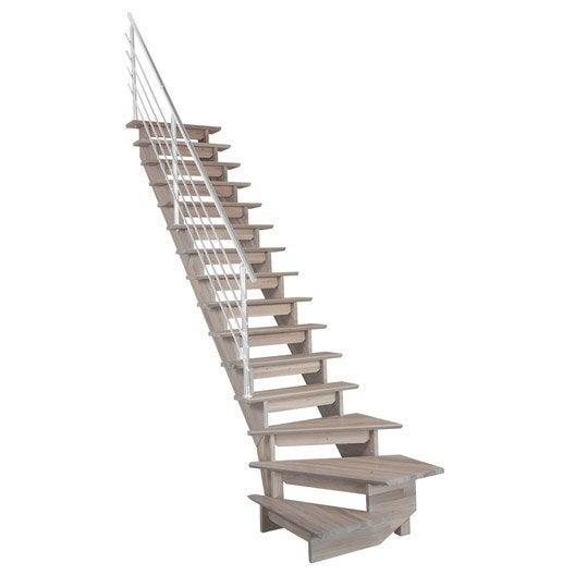 Escalier quart tournant bas gauche auvergne structure bois for Escalier bois 5 marches