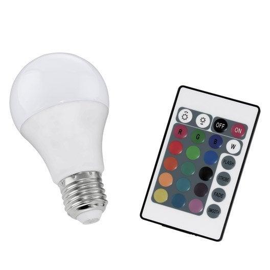 ampoule led changement de couleurs t l commande 7w 470lm quiv 40w e27 leroy merlin
