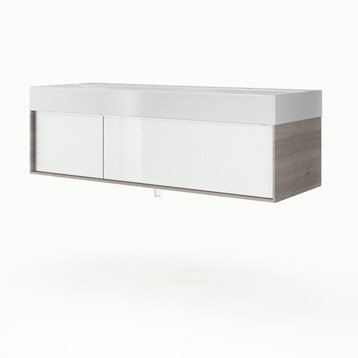 Meuble vasque l.135 x H.32 x P.48 cm, blanc, SENSEA Neo frame