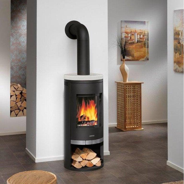 po le bois justus faro acier noir dessus pierre cr me 6 kw leroy merlin. Black Bedroom Furniture Sets. Home Design Ideas