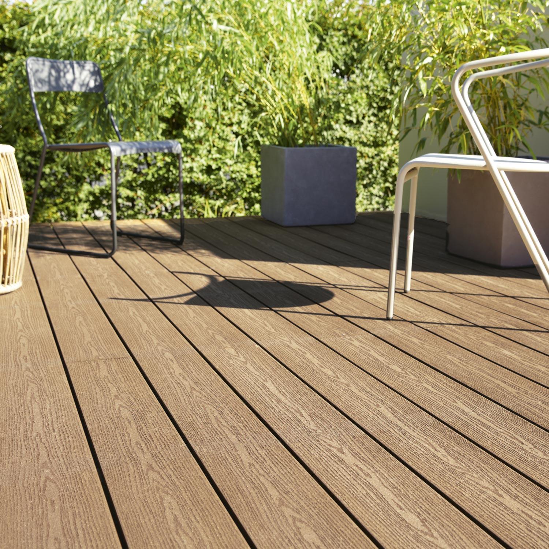planche composite résine et bois terrasse premium brun l