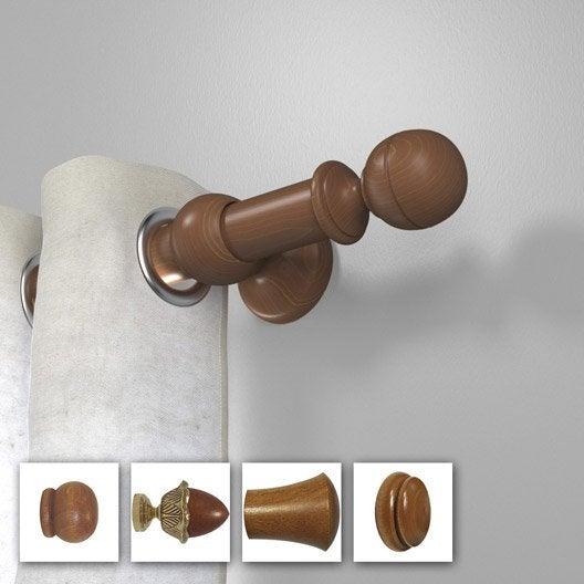 Porte-embrasse tringle à rideau Tradi 35 mm bois merisier INSPIRE