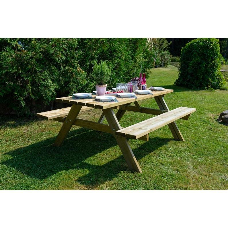 Table de jardin de repas Forestière rectangulaire naturel 6 personnes